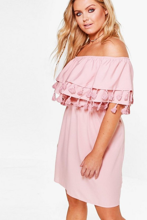 Plus Lottie Pom Pom Double Layer Dress
