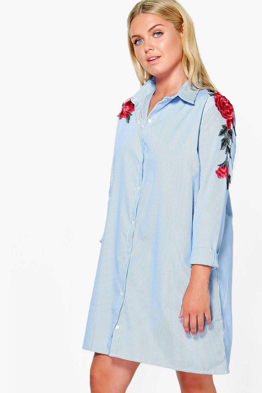 1867ec412510 ... Embroidered Stripe Shirt Dress. Hover to zoom