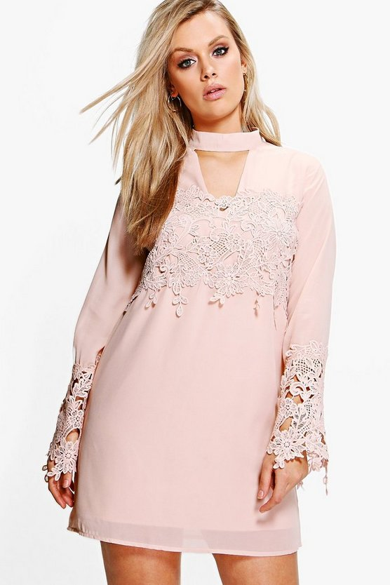 Plus Eva Choker Detail Crochet Shirt Dress