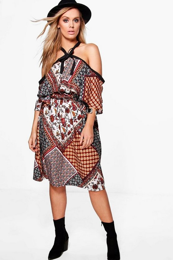 Plus Freya Open Shoulder Printed Dress