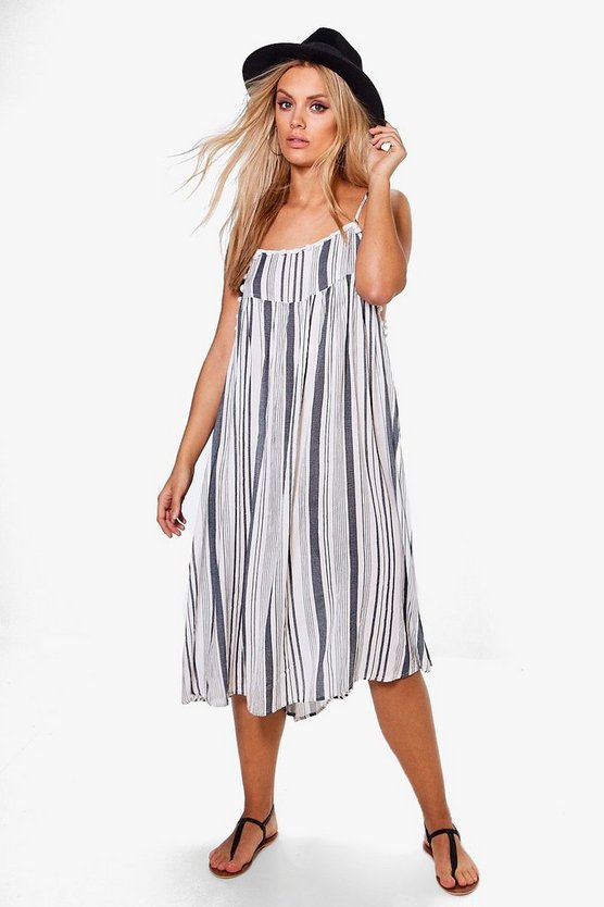 Plus Veronica Stripe Pom Pom Swing Dress