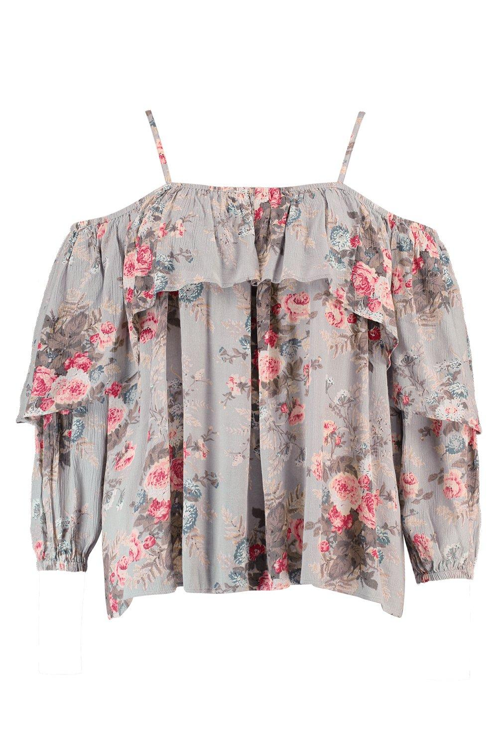 Floral Top Open Shoulder multi Plus nY8aqwda