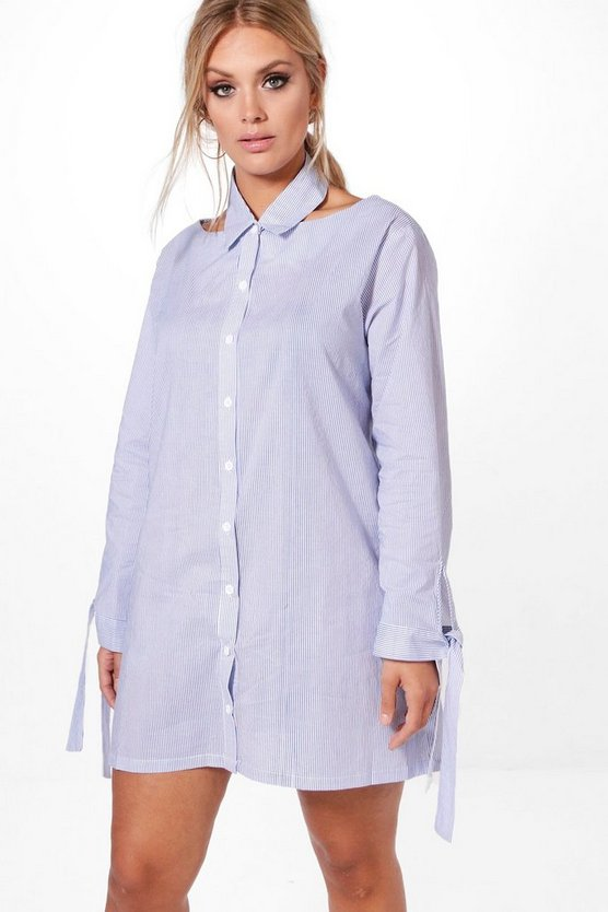 Plus Sarah Cut Out Detail Stripe Shirt Dress
