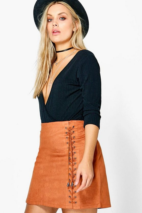 Womens Plus Lace Up Detail Suedette Mini Skirt