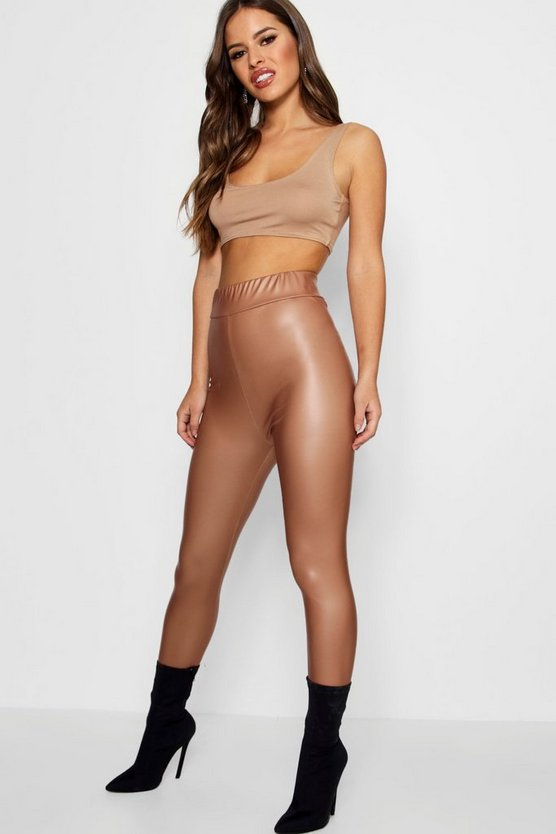 Petite Matte Leather High Waist Leggings