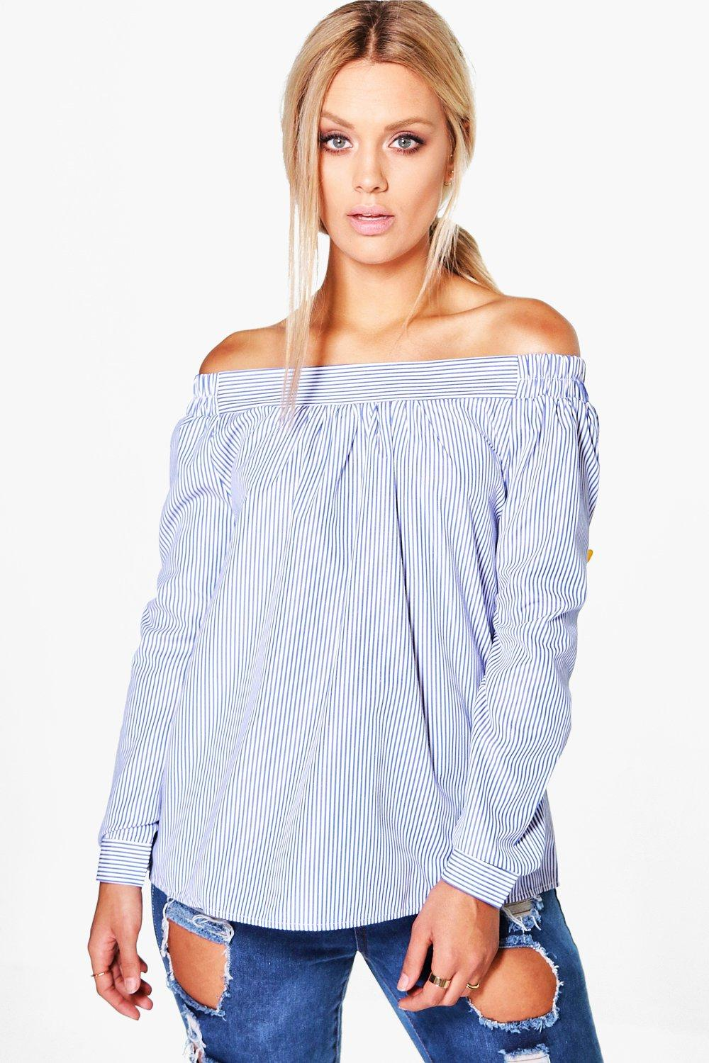 8f21fbcea5f80 Plus Shauna Woven Stripe Off The Shoulder Top