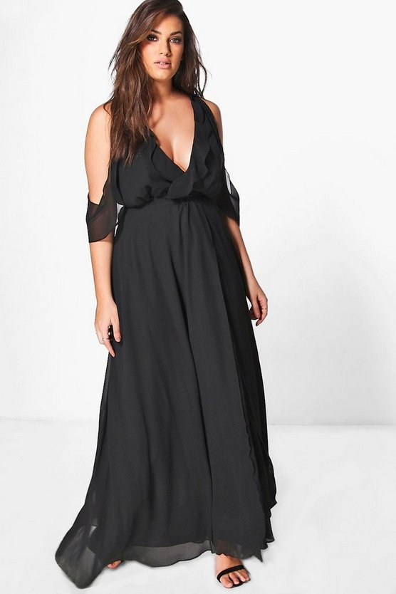Womens Black Plus Jen Frill Detail Plunge Maxi Dress