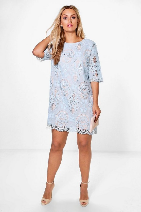 Womens Blue Plus  All Over Lace Shift Dress