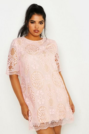 Womens Blush Plus  All Over Lace Shift Dress
