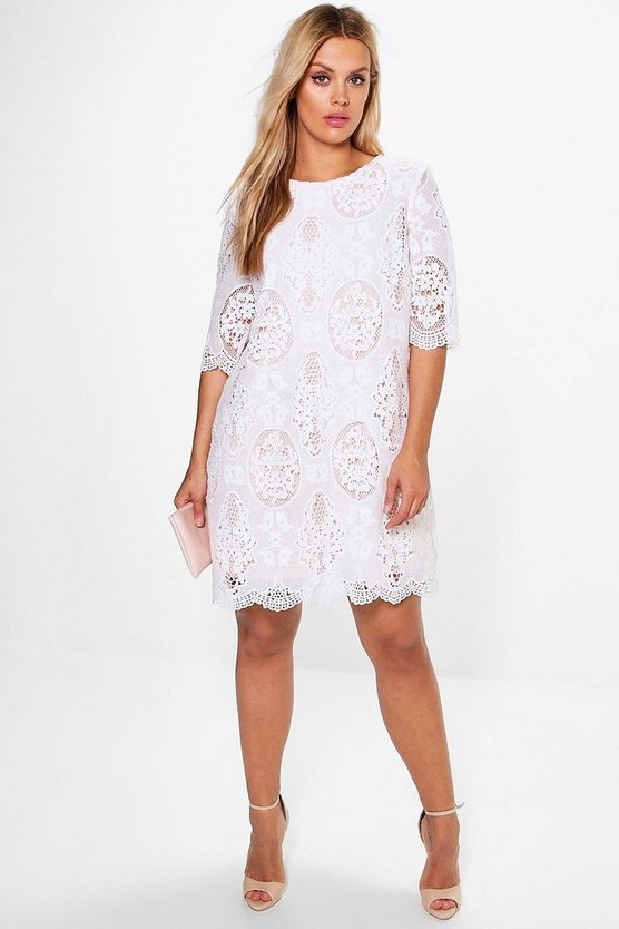 Womens White Plus  All Over Lace Shift Dress
