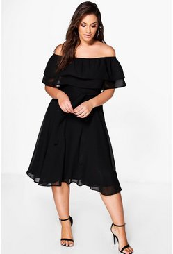 Womens Black Plus Ruffle Tie Waist Skater Dress