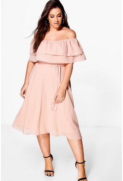 Womens Nude Plus Ruffle Tie Waist Skater Dress