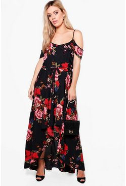 Plus Floral Open Shoulder Maxi Dress, Black, Donna