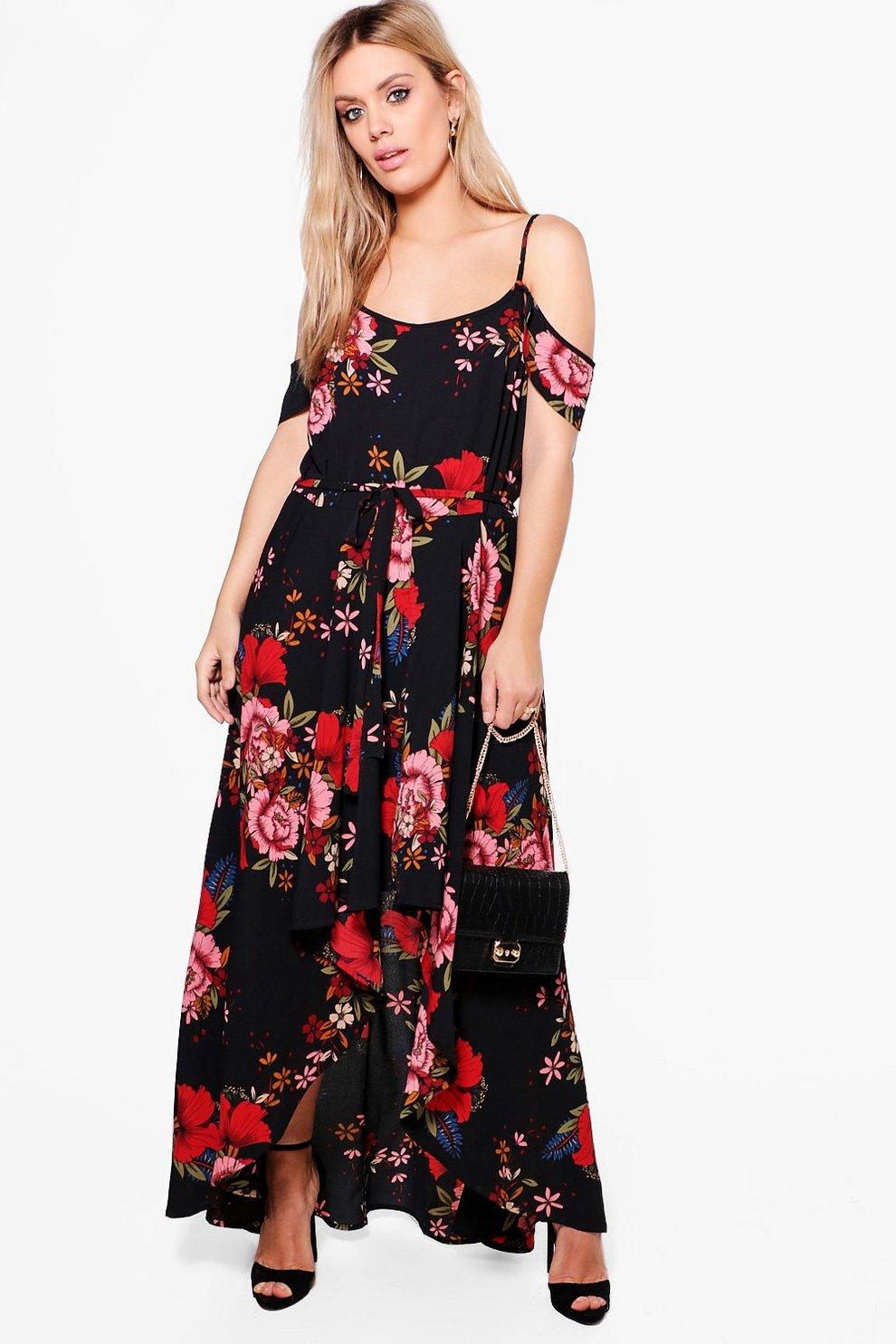 b391f9c0b66 Plus Floral Open Shoulder Maxi Dress   Boohoo