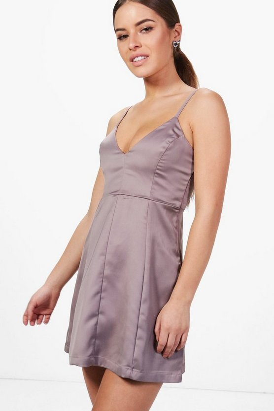 Womens Grey Petite Viki Plunge Neck Satin Skater Dress