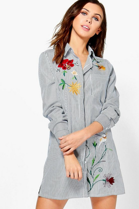 Petite Tanya Embroidered Stripe Shirt Dress