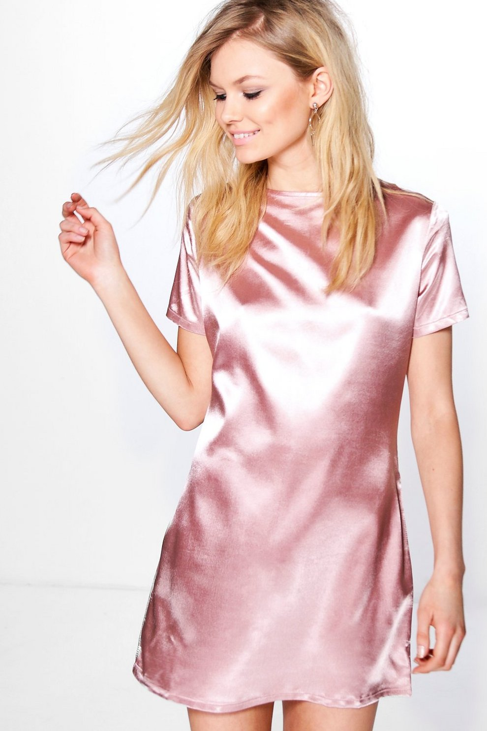 a2cd708f3492 Petite Lily Satin Luxe Shift Dress   Boohoo
