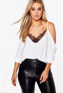 Cream Plus  Lace Trim V Neck Cold Shoulder Top