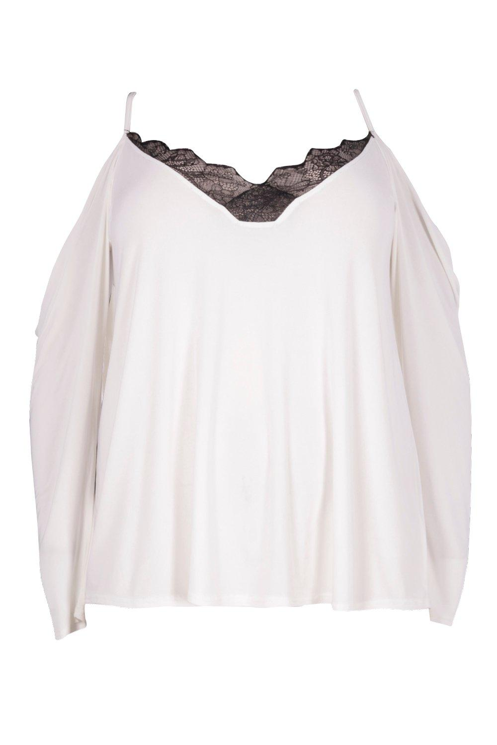 Trim Top Shoulder Neck Lace cream V Plus Cold qR45Hqw