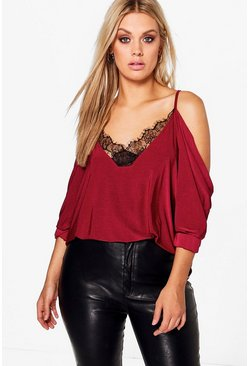 Womens Wine Plus  Lace Trim V Neck Cold Shoulder Top