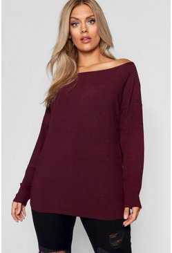 Womens Berry Plus  Off The Shoulder Knitted Jumper