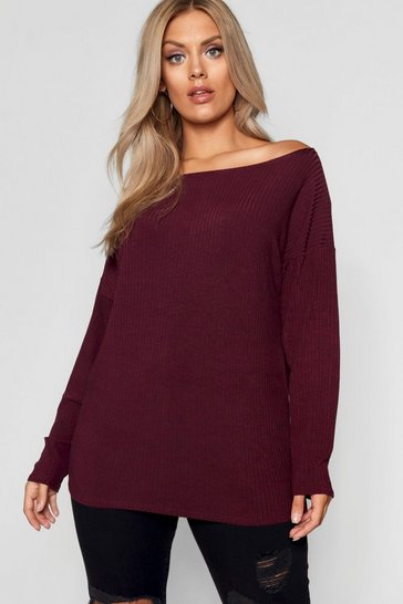 Berry Plus  Off The Shoulder Knitted Jumper