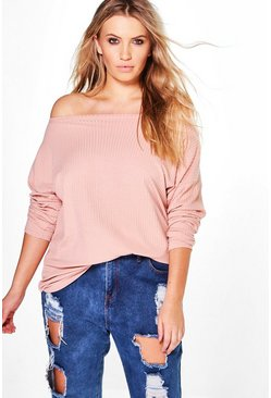 Blush Plus  Off The Shoulder Knitted Jumper