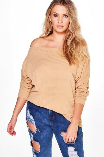 Womens Camel Plus  Off The Shoulder Knitted Jumper