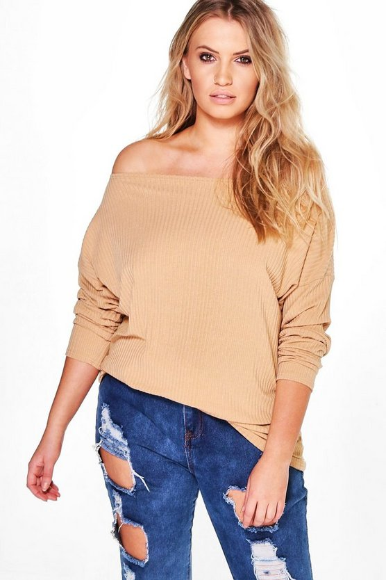 Plus Off The Shoulder Knitted Sweater