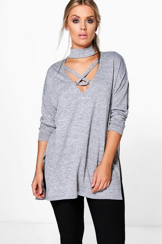 Womens Grey Plus Cross Front Knitted Jumper