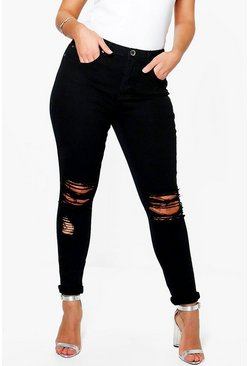 Womens Black Plus Ripped Knee Stretch Skinny Jean