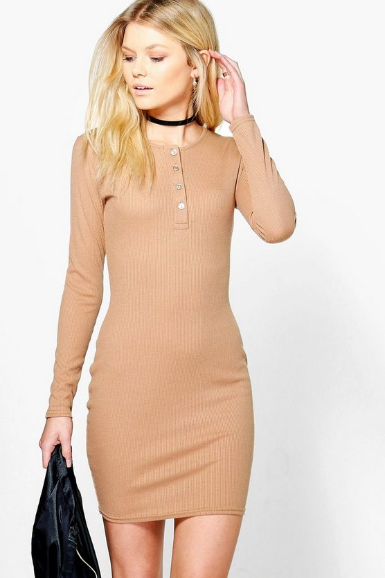 Petite Sara Button Front Rib Knit Bodycon Dress