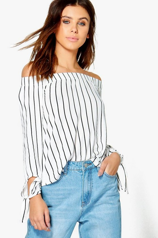 Womens Multi Petite  Bardot Stripe Tie Sleeve Top