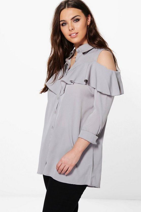 Plus Danielle Open Shoulder Ruffle Shirt