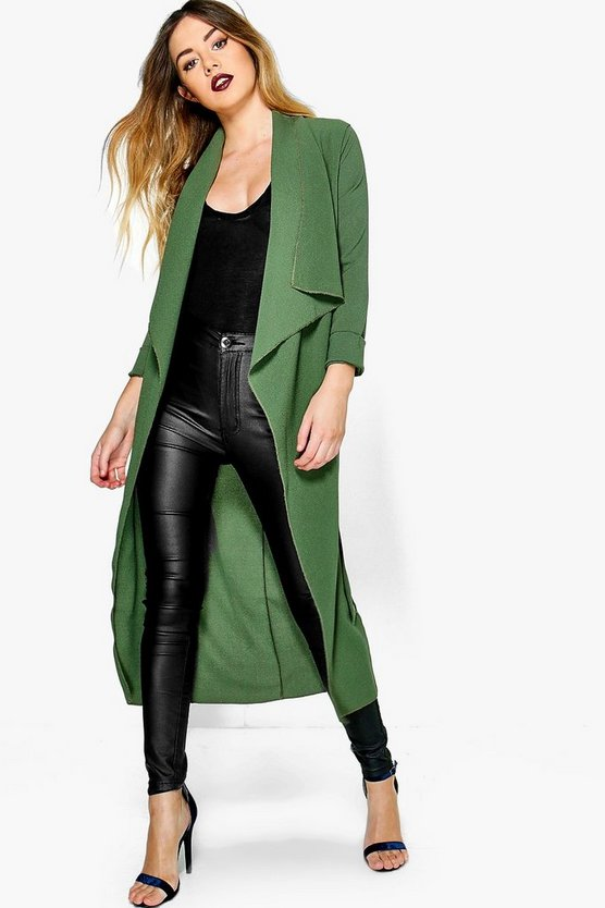Petite Emilie Woven Waterfall Belted Duster
