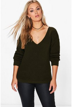 Womens Khaki Plus Oversized V-Neck Jumper