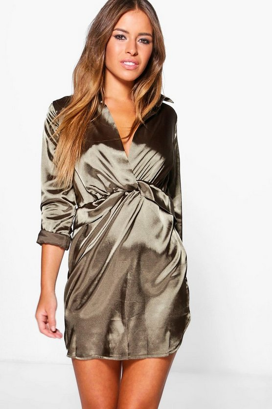 Petite Clara Knot Front Satin Shirt Dress