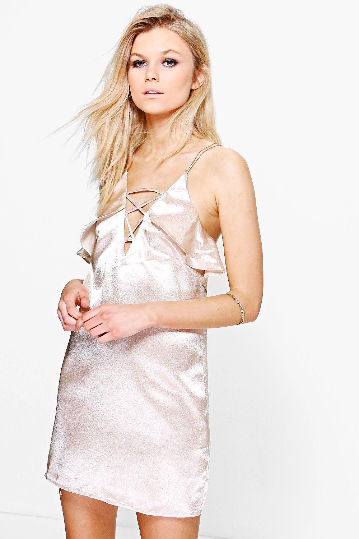 Sara Lace Up Detail Satin Shift Dress  champagne