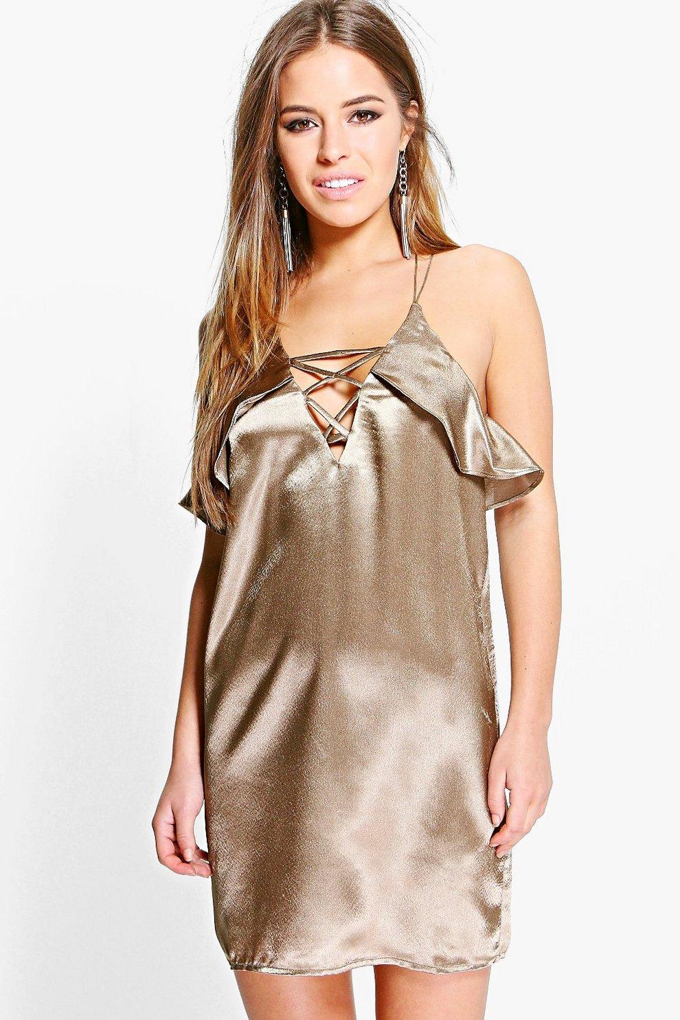 e8efe0976e56 Petite Sara Lace Up Detail Satin Shift Dress   Boohoo