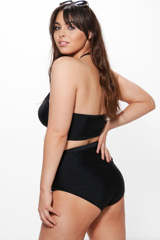 Bikini Crochet High Plus Waist black Insert FIwnUvv1qx