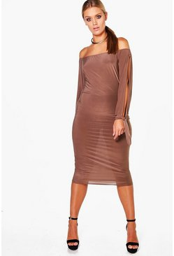Womens Mocha Plus Amie Off The Shoulder Open Shoulder Midi Dress