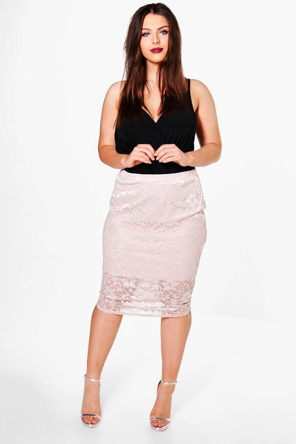 54a2ba8280c Plus Tara Lace Pencil Skirt | Boohoo