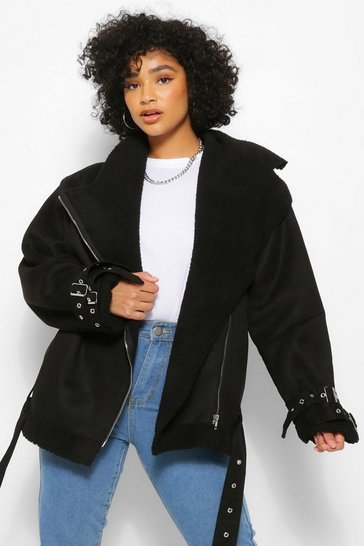 Womens Black Plus  Bonded Aviator Jacket