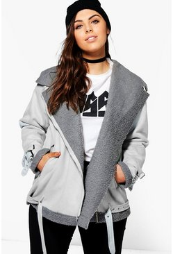 Womens Grey Plus  Bonded Aviator Jacket