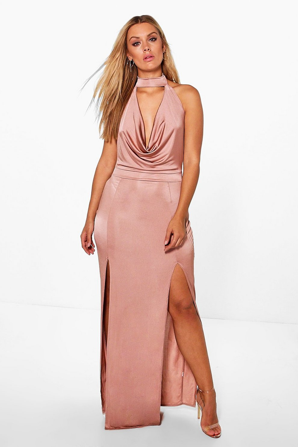 ae1dcb3dca3 Womens Dusky pink Plus Harper Cowl Choker Maxi Dress. Hover to zoom