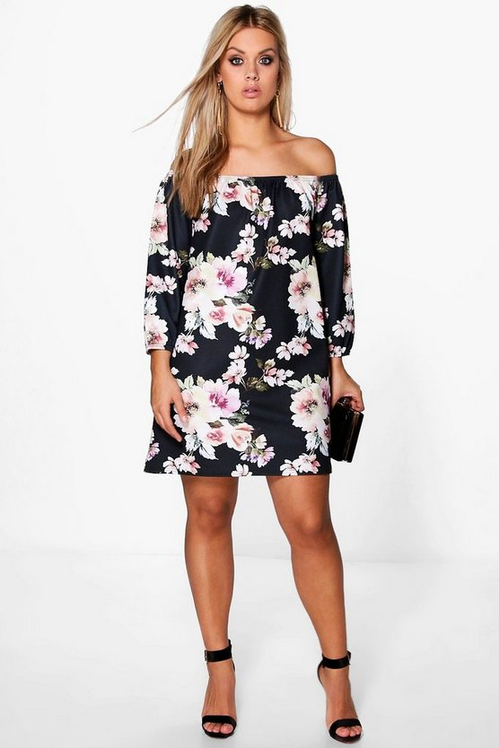 Womens Black Plus Floral Printed Textured Shift Dress
