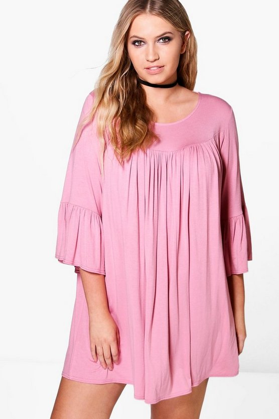 Plus Phoebe Ruffle Sleeve Swing Dress, Antique rose, MUJER