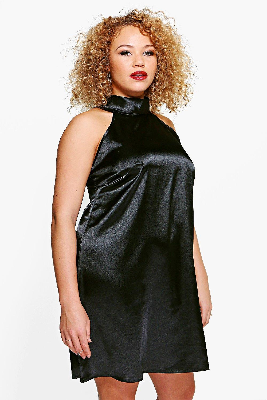 Layla High Neck Satin Shift Dress  black