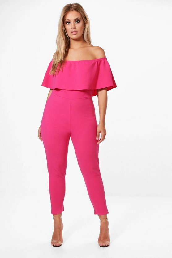 Womens Cerise Plus Off The Shoulder Ruffle Jumpsuit