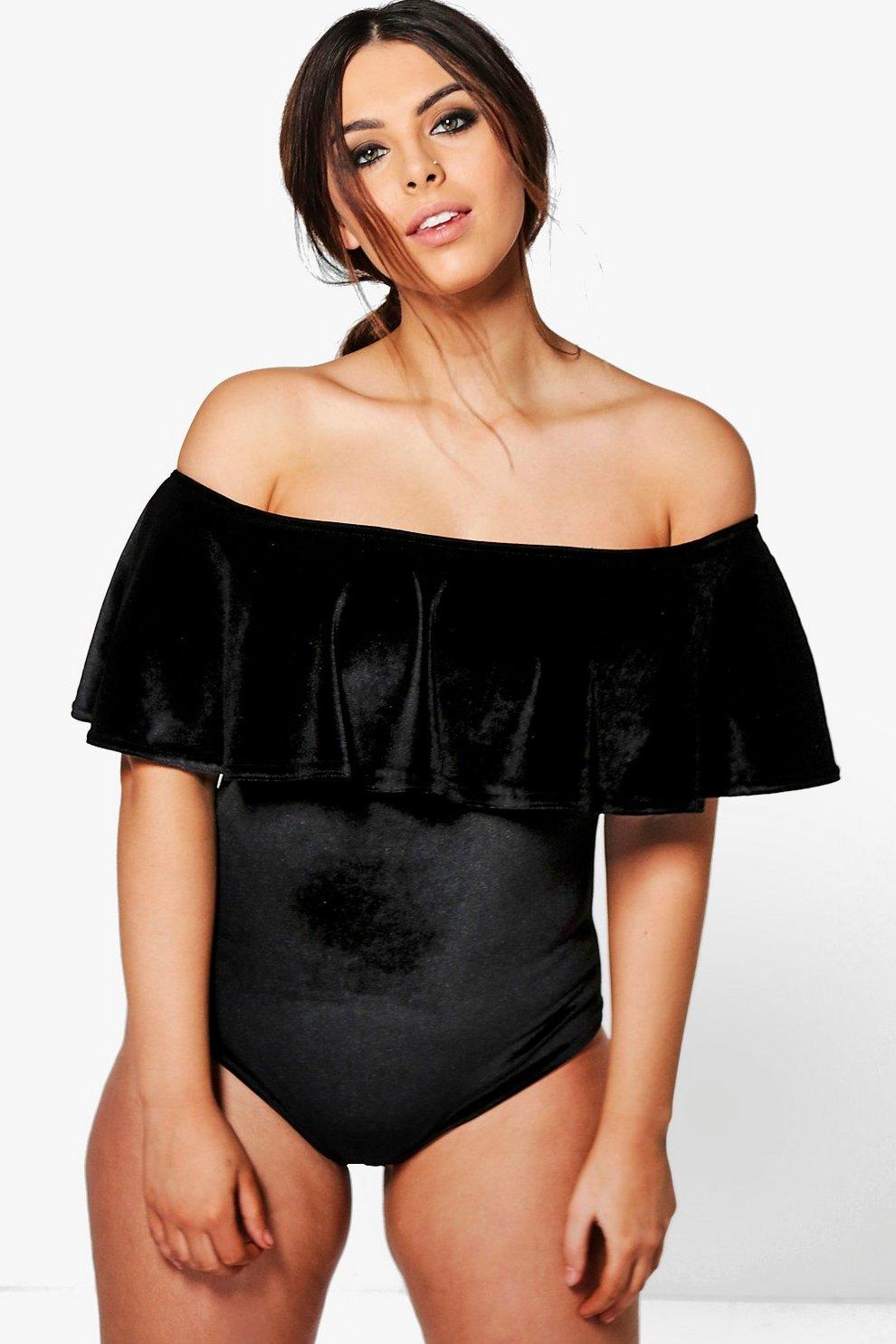 Plus Eliza Off The Shoulder Velvet Ruffle Bodysuit  c4e565123